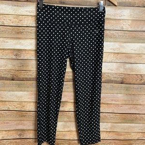Cropped Workout Tights| Size XS| W&B Polka Dots